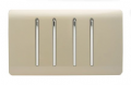 Trendi Modern Glossy 4 Gang 2 Way Rocker Double Plate Tactile Light Switch in Champagne Gold